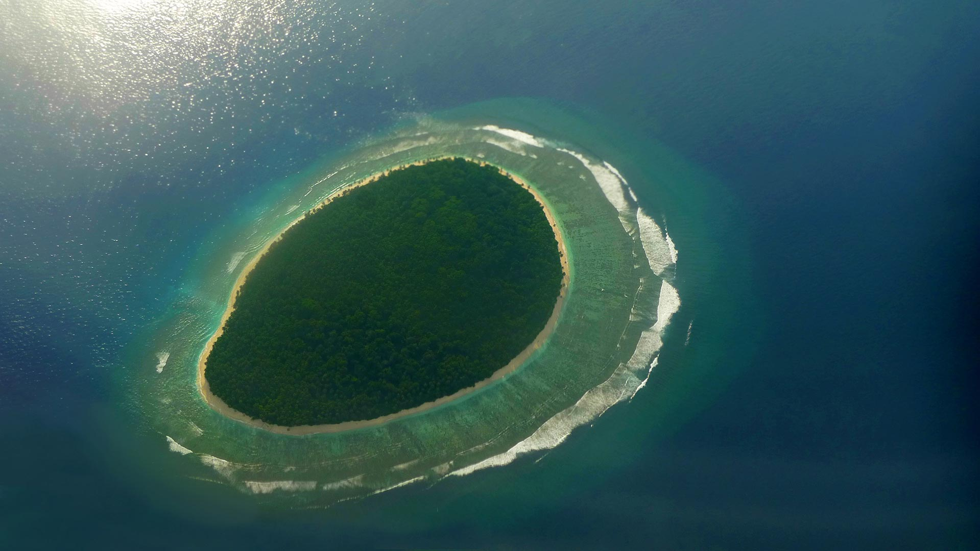 One of the most isolated islands in the world seeing from the sky