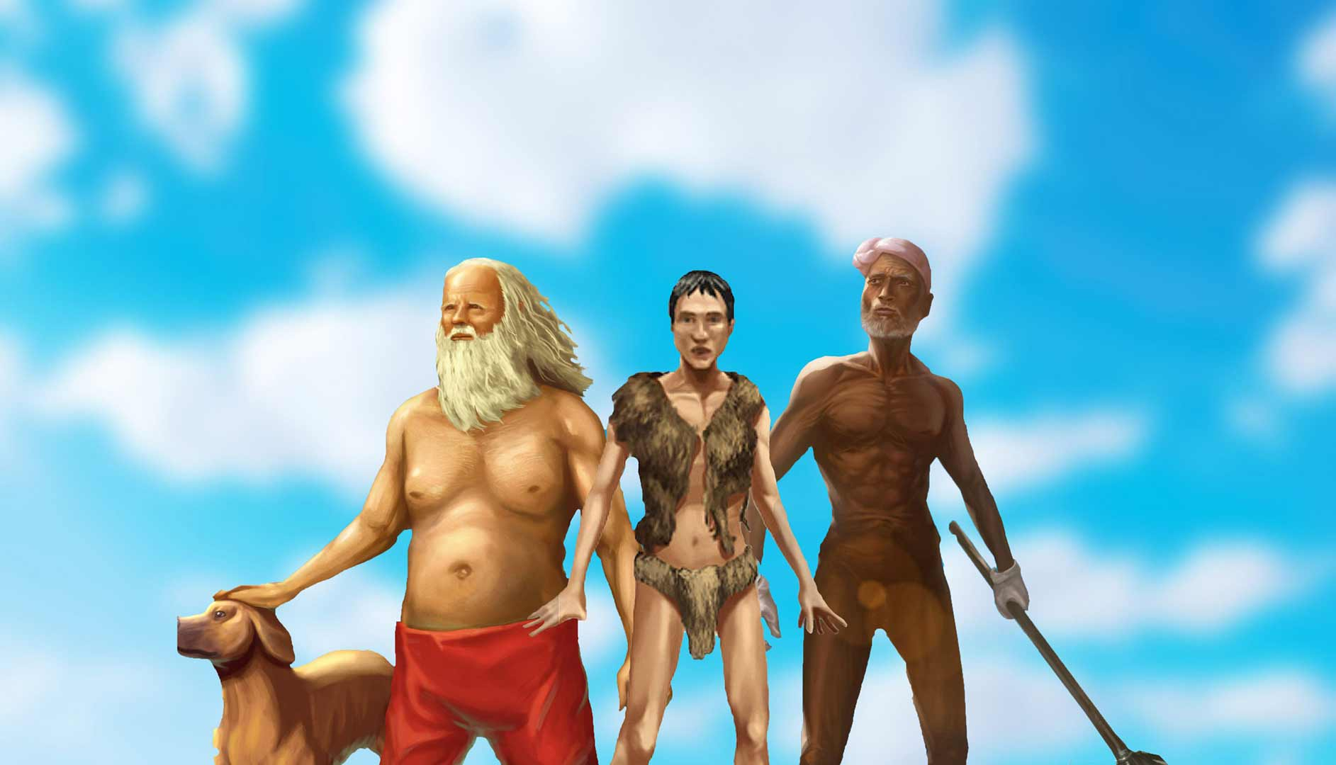 Three of our castaway heroes in blue sky background