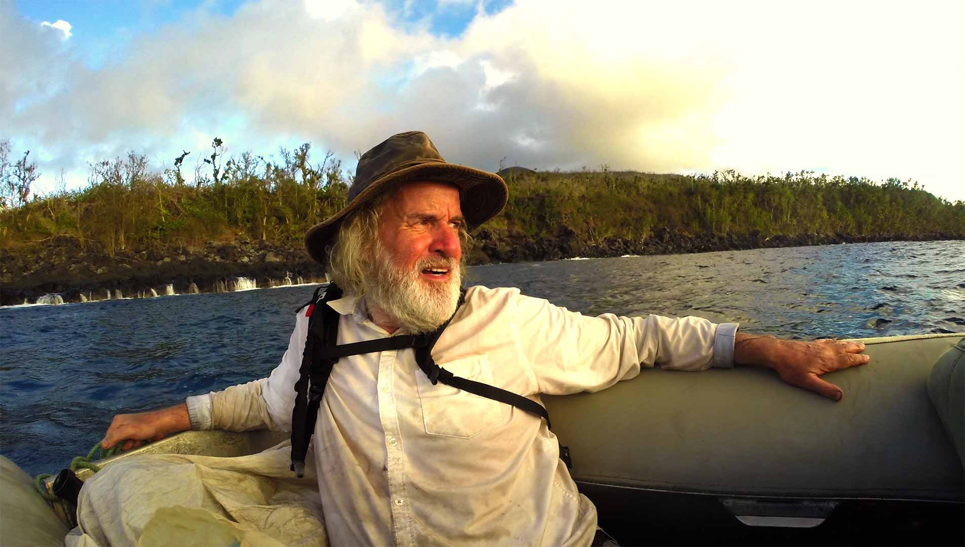 Ian Argus Stuart, One of our castaways arriving to the desert islands that we have in Oceania